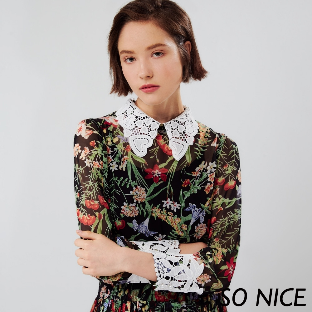 SO NICE復古風花卉印花百褶長洋裝