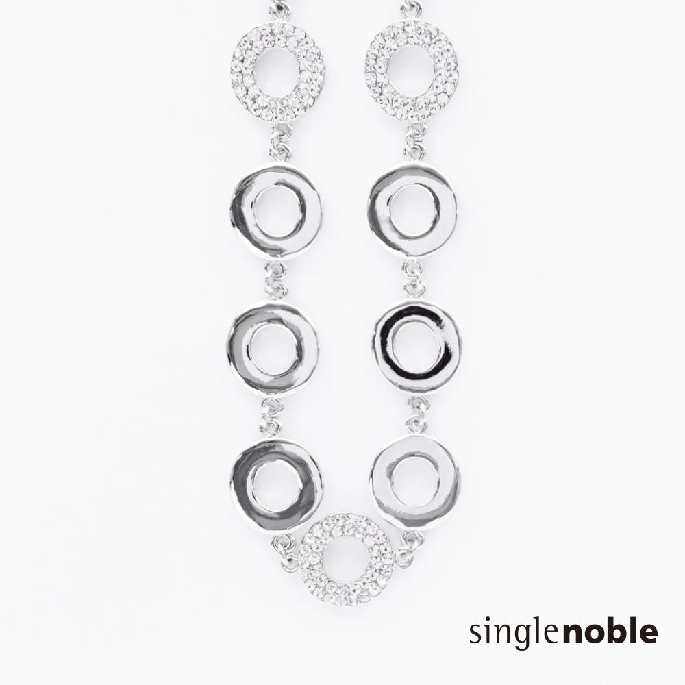 獨身貴族 都會標誌鑲嵌水鑽排列圓環項鍊(1色)