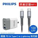 【Philips飛利浦】Type-C to Lightning手機線+PD雙孔充電器組1M