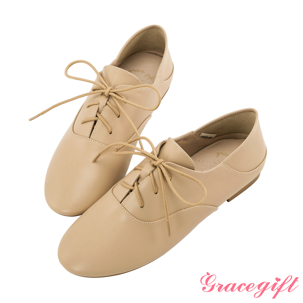 Grace gift-全真皮2way簡約綁帶便鞋 杏