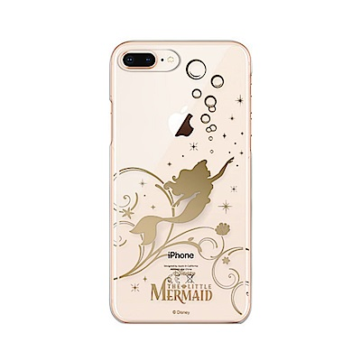 iPhone 8/7 Plus 海外限定 迪士尼 PC金箔透明 硬殼 5.5吋-美人魚