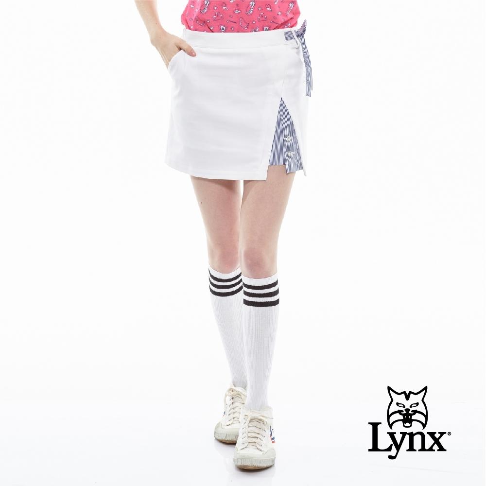 【Lynx Golf】女款假兩件式腰頭綁帶造型運動褲裙-白色