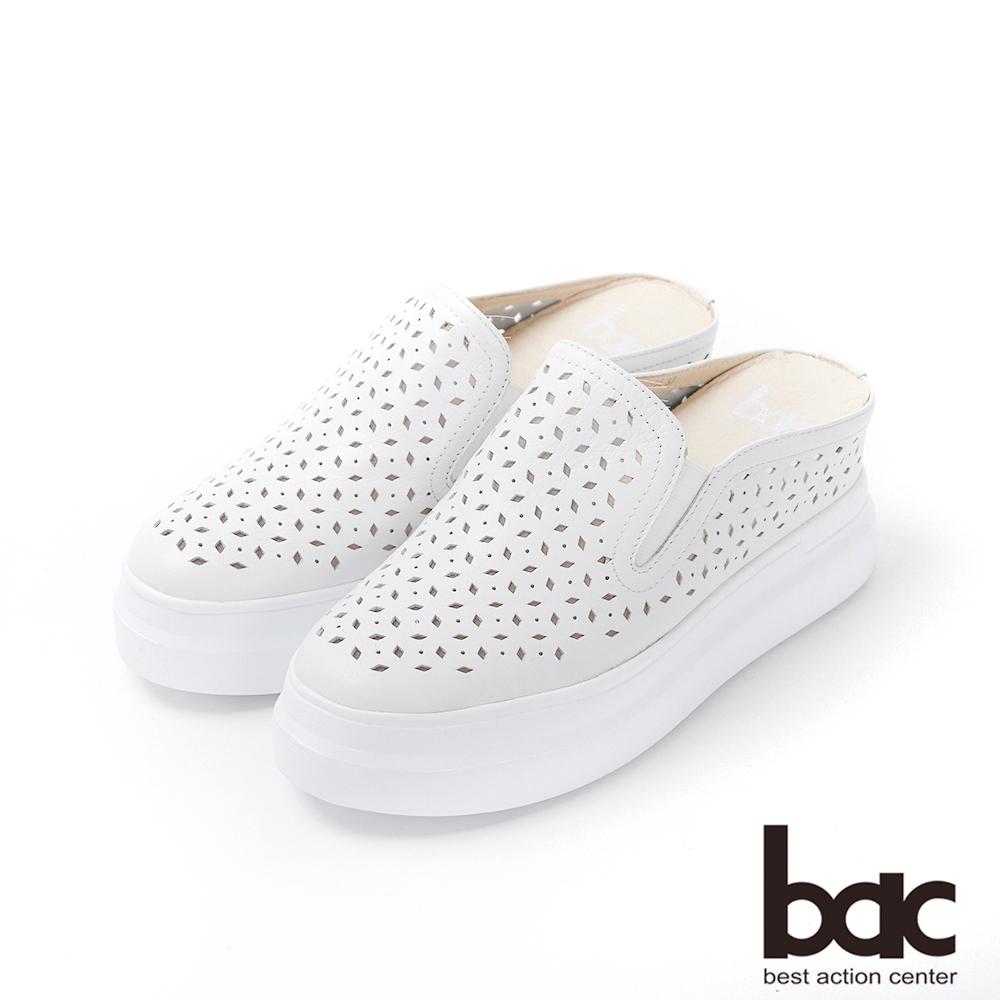bac週末輕旅行 - 純色皮革雷射沖孔穆勒鞋休閒鞋-白
