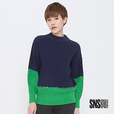 SNS 視覺撞擊拼接拉鍊小高領針織衫(2色)