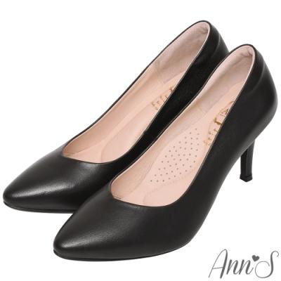 Ann'S舒適療癒系-V型美腿棉羊皮尖頭跟鞋-黑