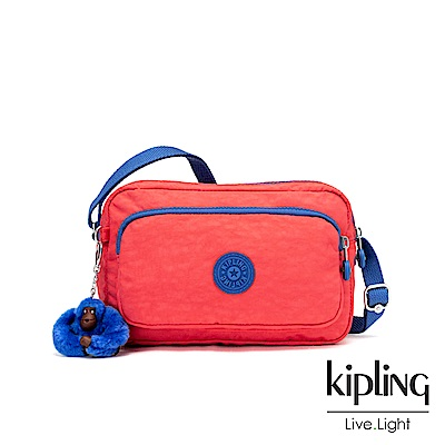 Kipling 柿子紅撞色素面多隔層斜背小包-MELINDA