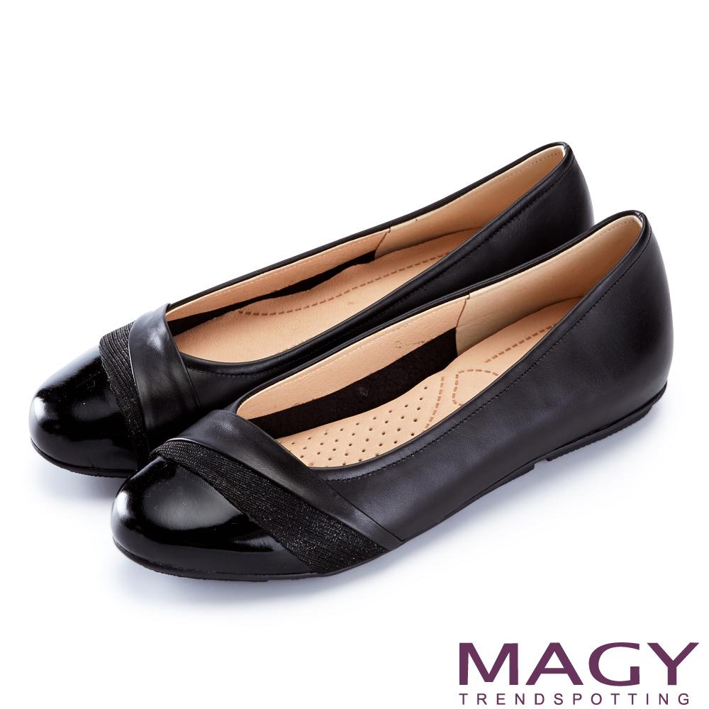 MAGY 甜美混搭新風貌 金蔥布面點綴牛皮娃娃鞋-黑色