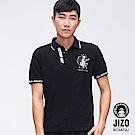 地藏小王 BLUE WAY 閃電繡口文字短POLO衫(黑)