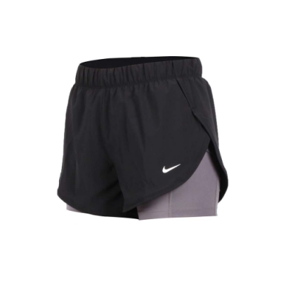 NIKE 女兩件式運動短褲-路跑 慢跑 運動 健身 訓練 黑白灰