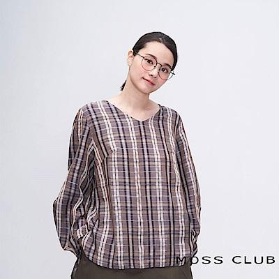 MOSS CLUB INLook 格紋馬蹄袖造型上衣(藍色)
