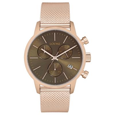 LOVME 城市獵人個性米蘭時尚手錶-IP玫x灰/43mm