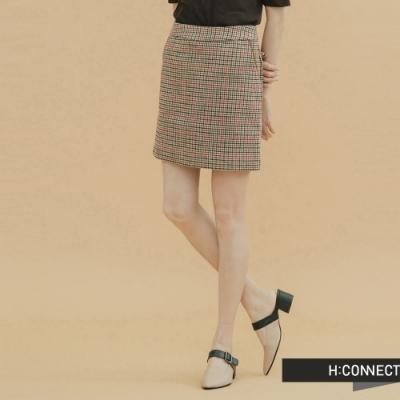 H:CONNECT 韓國品牌 女裝-千鳥格毛呢短裙-棕