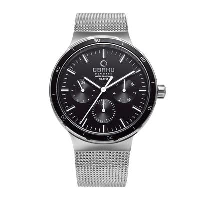 OBAKU 多功能暢快游泳三眼腕錶-黑-V220GMCBMC-42mm