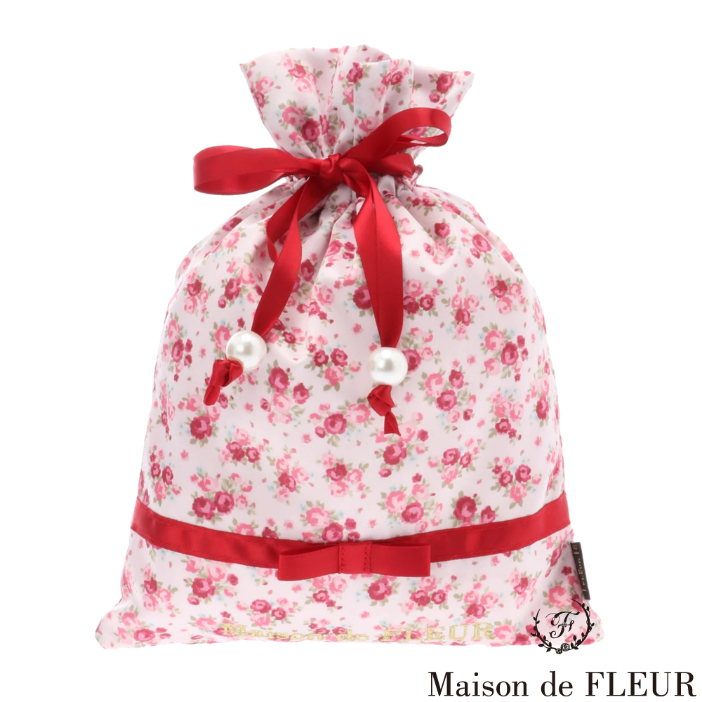 Maison de FLEUR 玫瑰印花蝴蝶結束口包