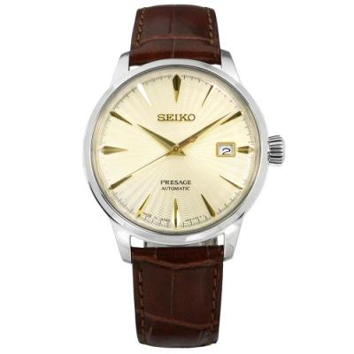 SEIKO 精工 PRESAGE Cocktail 牛皮機械錶-米黃x咖啡/40mm