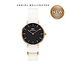 DW 手錶 官方旗艦店 28mm玫瑰金框 Classic Petite 純淨白x黑織紋手錶