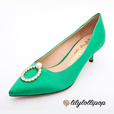 Lilylollipop-Luxury 珍珠環緞面跟鞋--草綠色