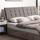 文創集 克倫現代5尺亞麻布雙人床頭箱(不含床底)-151.5x30x100cm免組