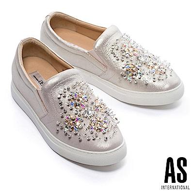 休閒鞋 AS 閃爍迷人縫鑽花全真皮厚底休閒鞋-金
