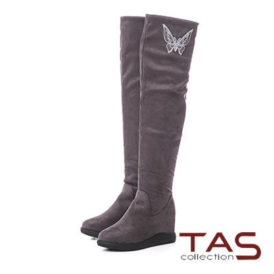 TAS蝴蝶結燙鑽3way絨布內增高膝上靴–成熟灰