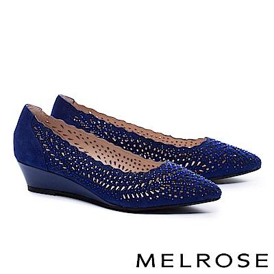 低跟鞋 MELROSE 華麗晶鑽鏤空羊麂皮尖頭楔型低跟鞋-藍