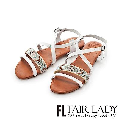 Fair Lady PORRONET 民族風串珠皮革繞帶平底涼鞋 白