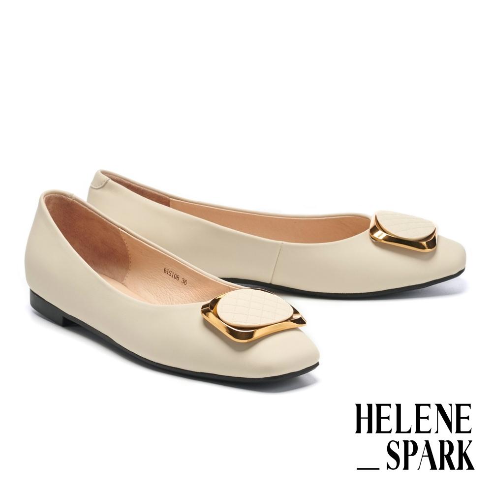 平底鞋 HELENE SPARK 都會典雅金屬方釦全真皮方頭平底鞋-米