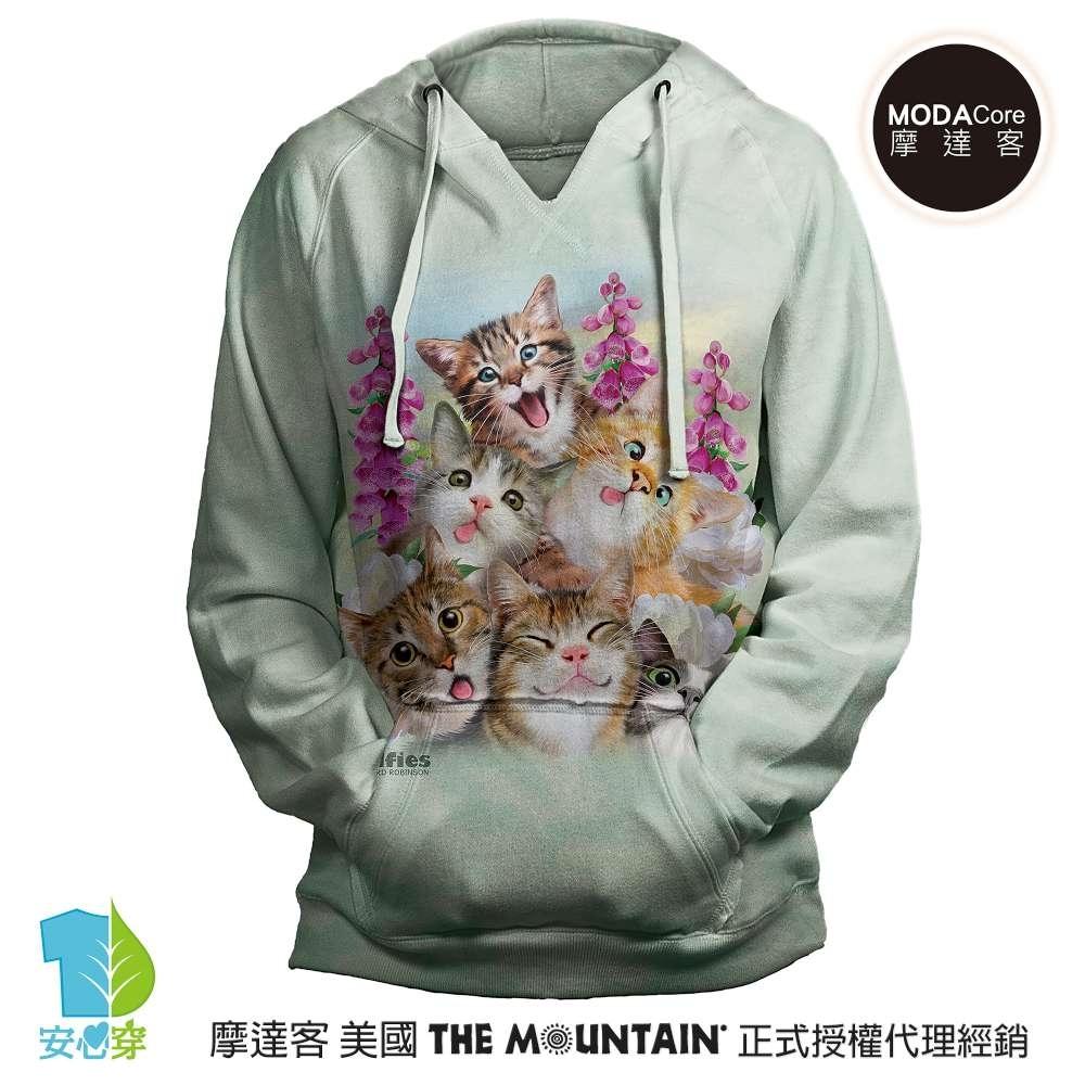 摩達客 預購 美國進口The Mountain 貓咪哦耶 女版V領長袖連帽T恤