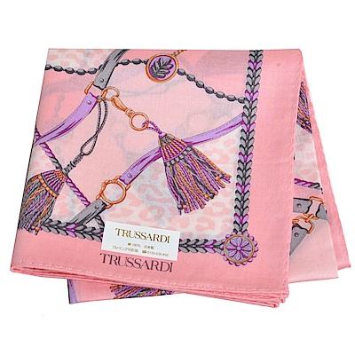 TRUSSARDI 經典品牌流蘇圖騰LOGO豹紋圖騰大帕領巾(粉紅系)