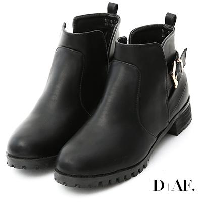 D+AF 率性風貌.金釦側挖空低跟短靴*黑