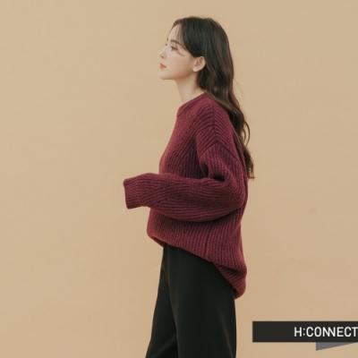 H:CONNECT 韓國品牌 女裝 - 落肩羅紋針織上衣 - 紫