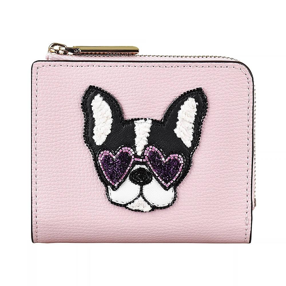 Kate Spade Sylvia 燙金LOGO鬥牛犬設計牛皮6卡扣式短夾(玫瑰粉)