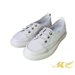 MK-簡單穿系列-全真皮簡約鑽帶免綁帶平底休閒鞋 (白色)