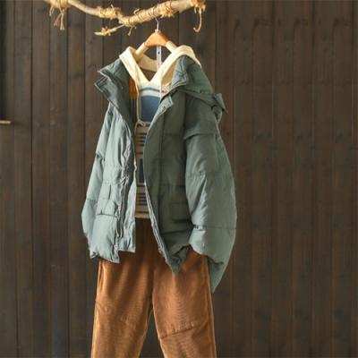 素色加厚夾棉連帽棉服寬鬆工裝風棉衣外套-設計所在