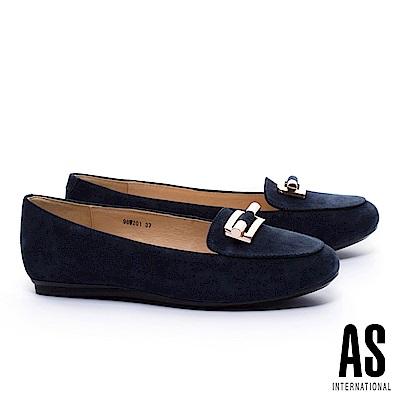 平底鞋 AS 典雅知性金飾牛麂皮樂福平底鞋-藍