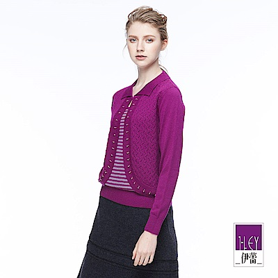 ILEY伊蕾 知性條紋假兩件針織上衣(紫/灰)