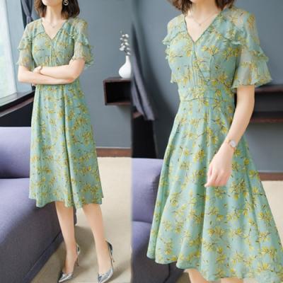 【韓國K.W.】(現貨)夏氛俏皮氣質飄逸荷葉袖印花洋裝(共1色)