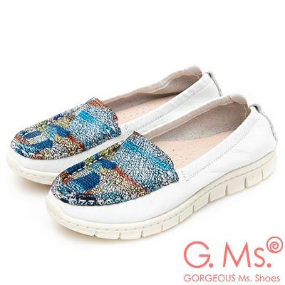 G.Ms. MIT極輕量-牛皮印象幻彩莫卡辛鞋-白色