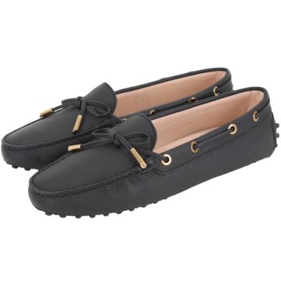 TOD'S Gommino 經典綁帶休閒豆豆鞋(女鞋/黑色)