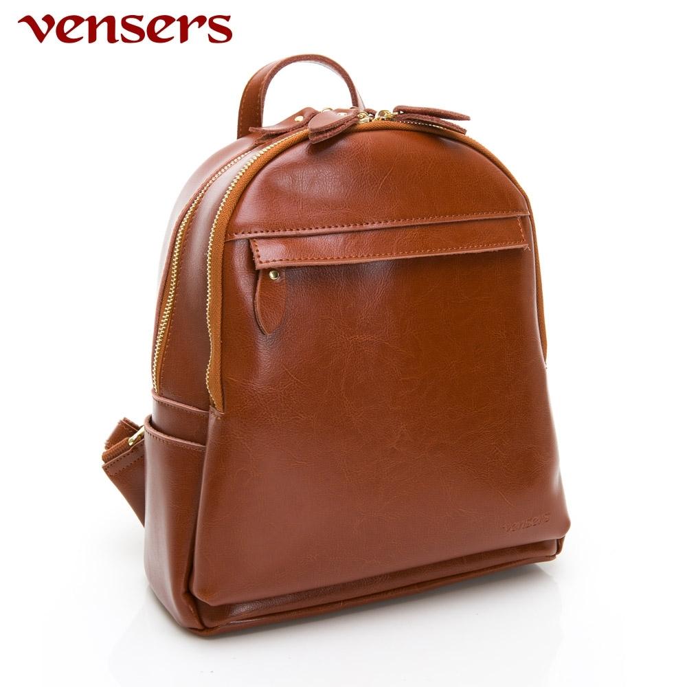 【vensers】小牛皮潮流個性包~後背包(NL1075101棕色)