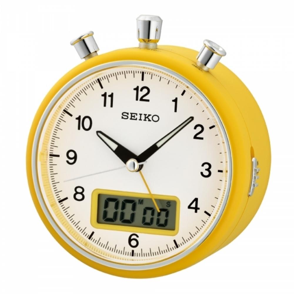 SEIKO 日本精工 嗶嗶聲 靜音 計時秒錶 倒數計時 鬧鐘(QHE114E)白/12X10.6cm