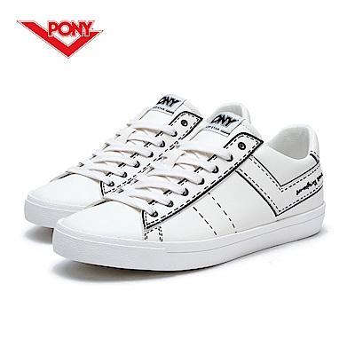 【PONY】TOP STAR系列-個性塗鴉復古鞋款-女-白