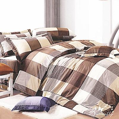 BUTTERFLY-台製40支紗純棉加高30cm薄式雙人床包+雙人鋪棉兩用被-格子趣-咖