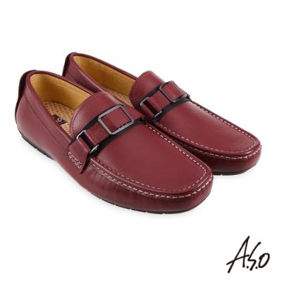 A.S.O 機能休閒 3D超動能金屬扣減壓樂福休閒鞋-暗紅