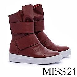 短靴 MISS 21 個性帥女全真皮厚底休閒短靴-紅