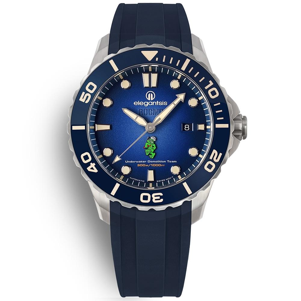 elegantsis 海軍陸戰隊水中爆破 鈦金屬 防水300米 矽膠手錶-藍色/44mm