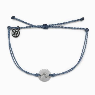 Pura Vida 美國手工 PAVE WAVE COIN銀幣WAVE 灰藍色蠟線可調式衝浪手環