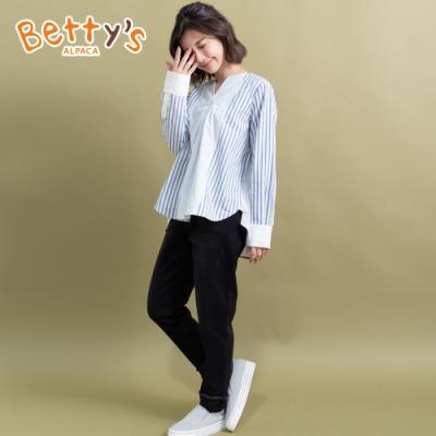 betty's貝蒂思 不修邊抽鬚質感長褲(黑色)