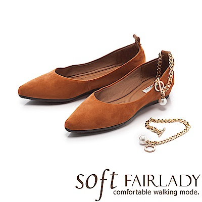 Fair Lady Soft芯太軟 性感麂皮珍珠腳鍊繫踝尖頭鞋 棕