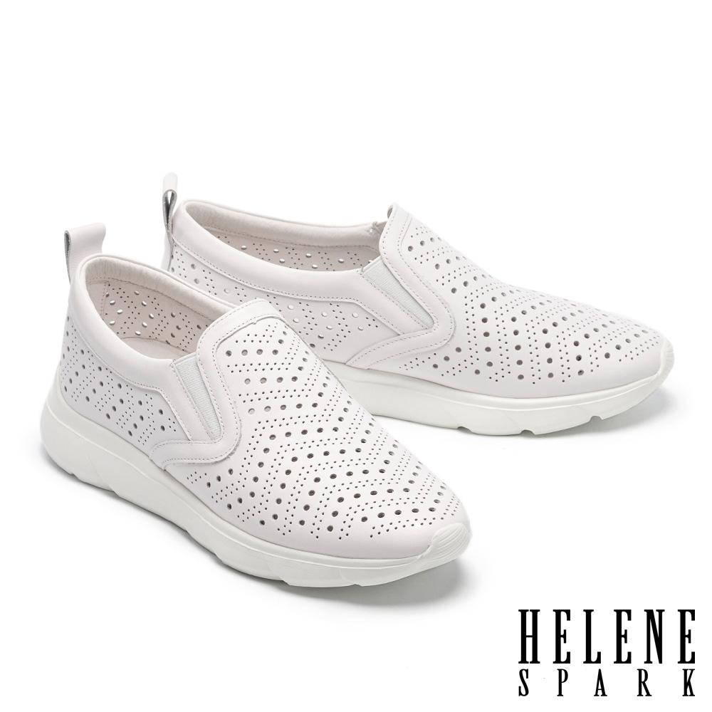休閒鞋 HELENE SPARK 簡約率性沖孔全真皮厚底休閒鞋-白